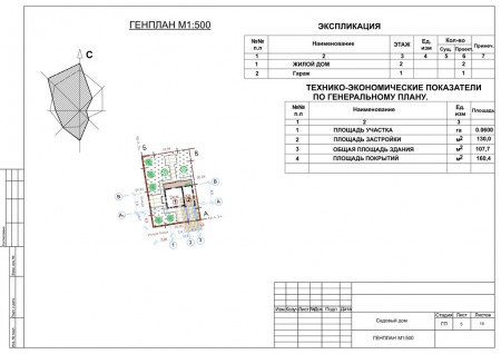 Генеральный план, масштаб М 1:500